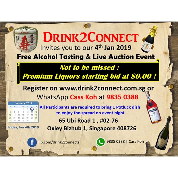 Jan 4, 2019 Friday Free Alcohol Tasting Event from 6pm-10pm