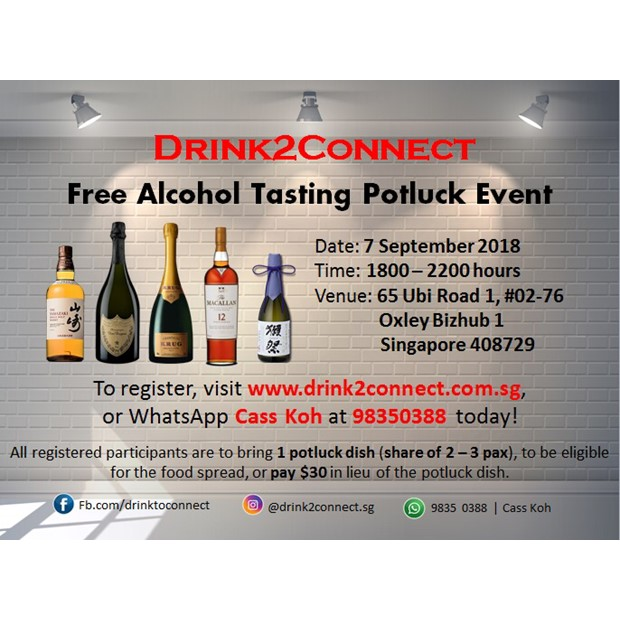 Sept 7, 2018 Friday, Free Alcohol Tasting Event with Pot Luck Food Cum Live Bidding