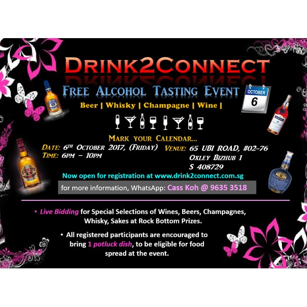 October 6 Free Alcohol Tasting & Networking Event (Beer/Wine/Moscato/Champagne/Japanese Sake/Whisky etc